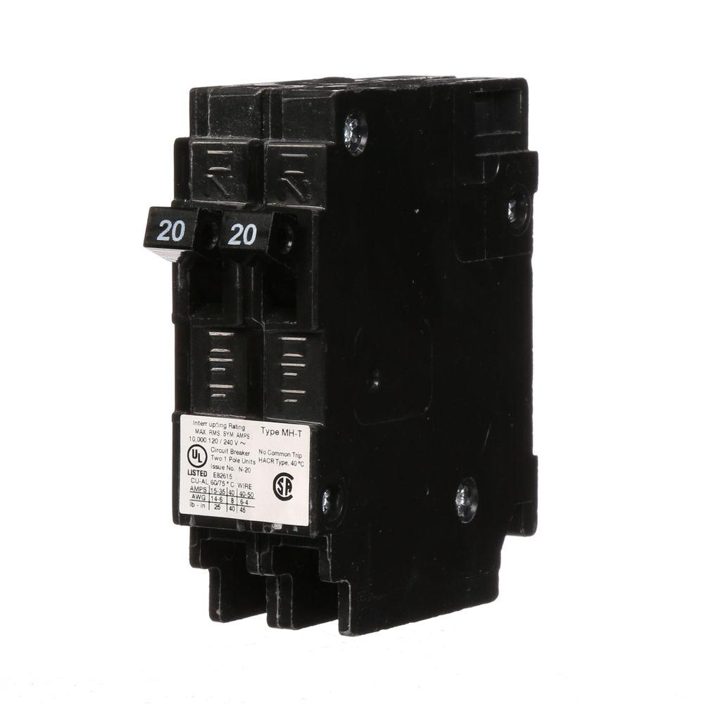 Murray Circuit Breakers Power Distribution The Home Depot 83 Pace Arrow Wiring Diagram 20 Amp Single Pole Type Mh T Tandem Ncl Breaker