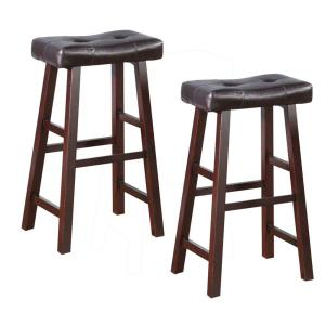 Swell Benjara 29 In Brown Leather Upholstered Wooden Bar Stool Caraccident5 Cool Chair Designs And Ideas Caraccident5Info