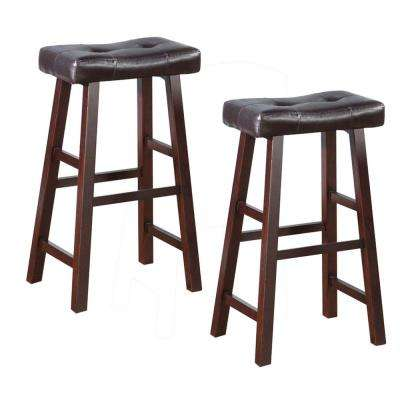 29 in. Brown Leather Upholstered Wooden Bar Stool (Set of 2)