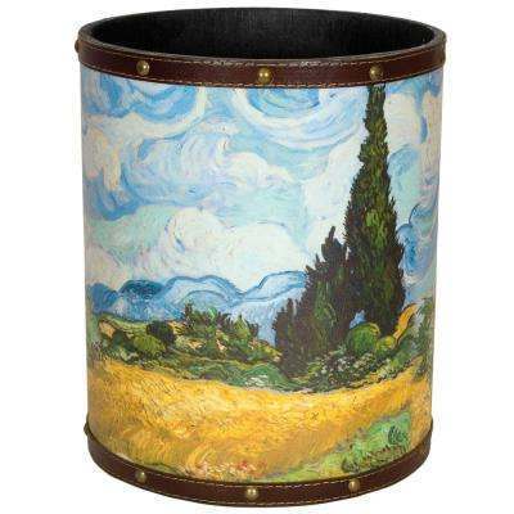 Oriental Furniture 8.25 in. x 10 in. Van Gogh Wheat Field Waste Basket