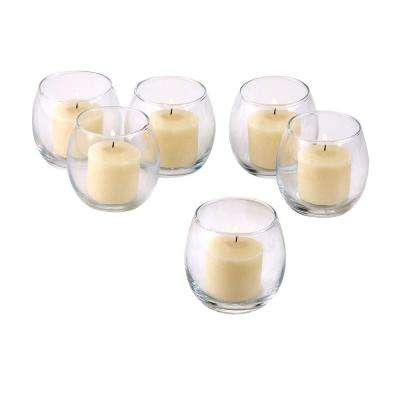 Clear Glass Hurricane Votive Candle Holders with Ivory Votive Candles (Set of 12)