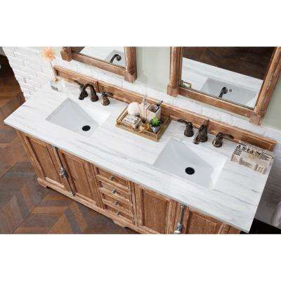 Providence 72 in. Single Bath Vanity in Driftwood with Solid Surface Vanity Top in Arctic Fall with White Basin