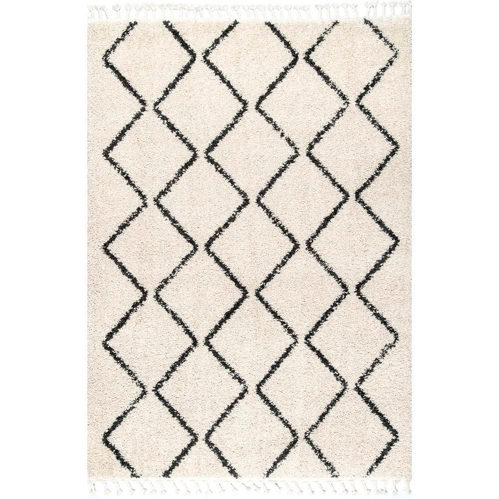 Michelle Diamond Trellis Tassel Off-White 2 ft. x 3 ft. Area Rug