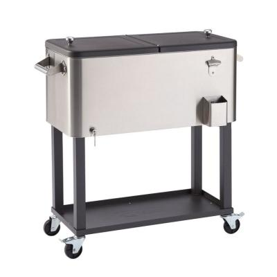 80 Qt./20 Gal. Stainless Steel Standing Wheeled Cooler with Shelf