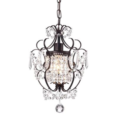 Amorette 1-Light Antique Bronze Mini Chandelier with Crystals