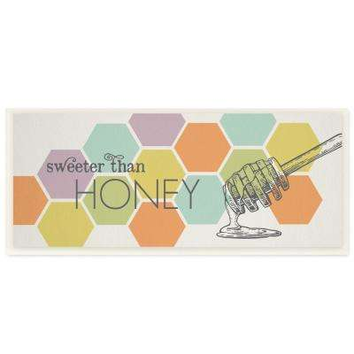 "7 in. x 17 in. ""Sweeter Than Honey Typography with Geo Honeycomb Pattern"" by Tammy Apple Wood Wall Art"