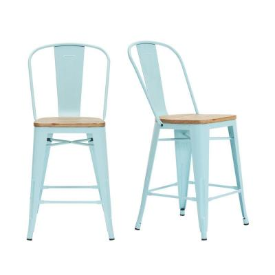 Finwick Seafoam Blue Metal Counter Stool with Back and Wood Seat (Set of 2) (17.72 in. W x 38.78 in. H)