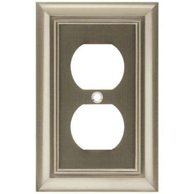 Architectural Decorative 1-Gang Single Duplex Outlet Cover, Satin Nickel (4-Pack)