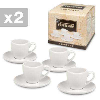 Konitz 8-Piece White Coffee Bar #1 Porcelain Espresso Cup and Saucer Sets Gift Boxed