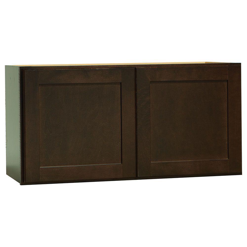 Shaker Assembled 30x15x12 in. Wall Bridge Kitchen Cabinet in Java