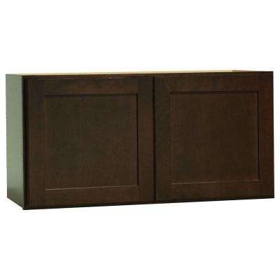 Shaker Assembled 30x15x12 in. Wall Bridge Kitchen Cabinet in Java