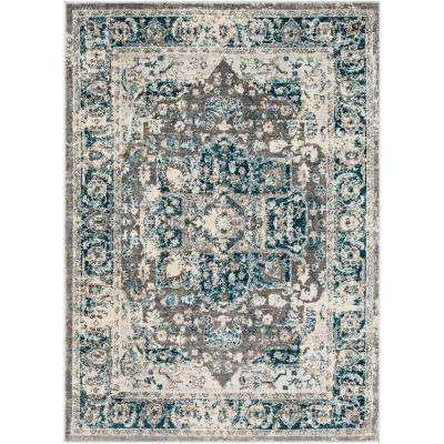 Zora Navy/Brown 5 ft. 3 in. x 7 ft. 3 in. Oriental Area Rug