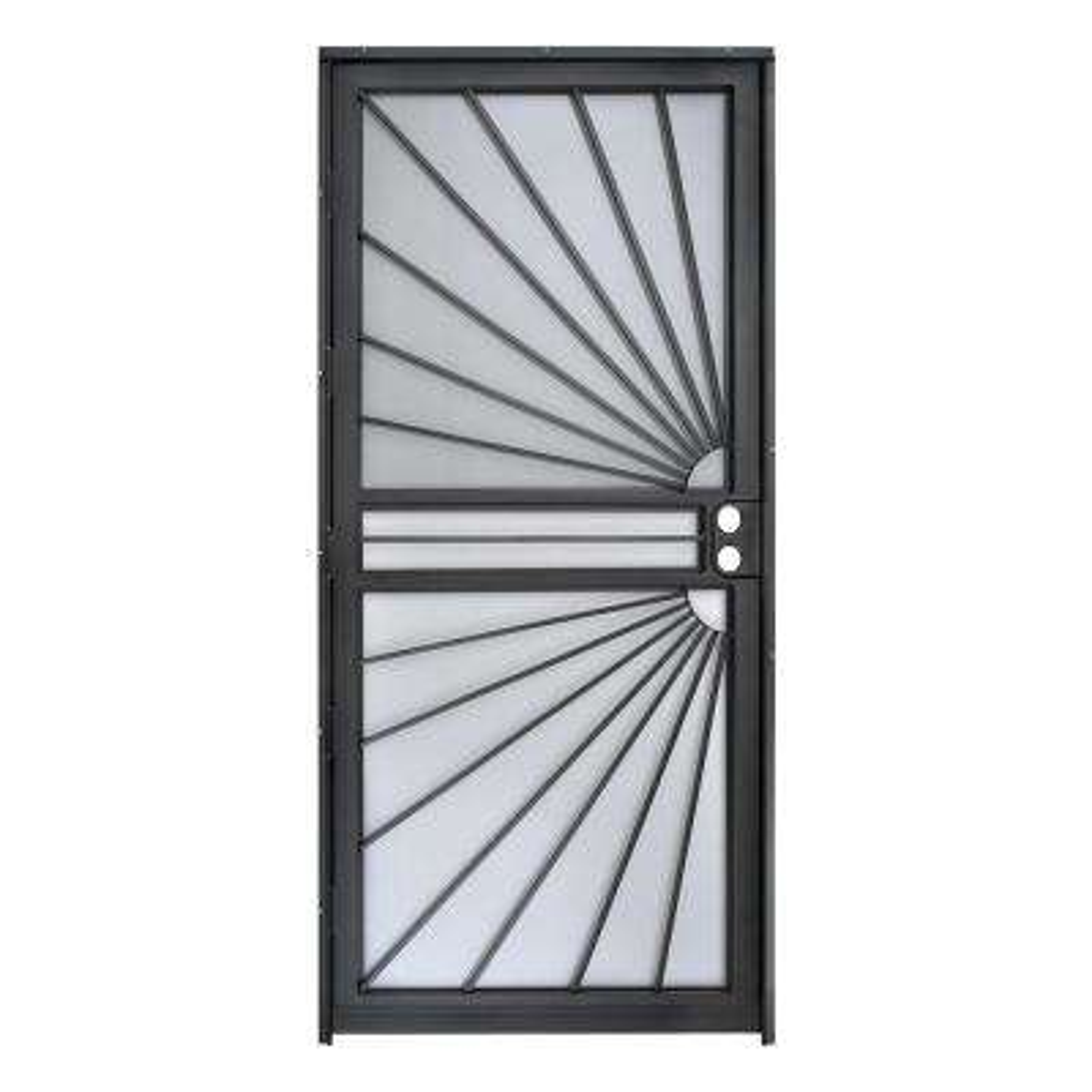 36 in. x 80 in. 469 Series Black Prehung Universal Hinge Outswing Sunburst Security Door
