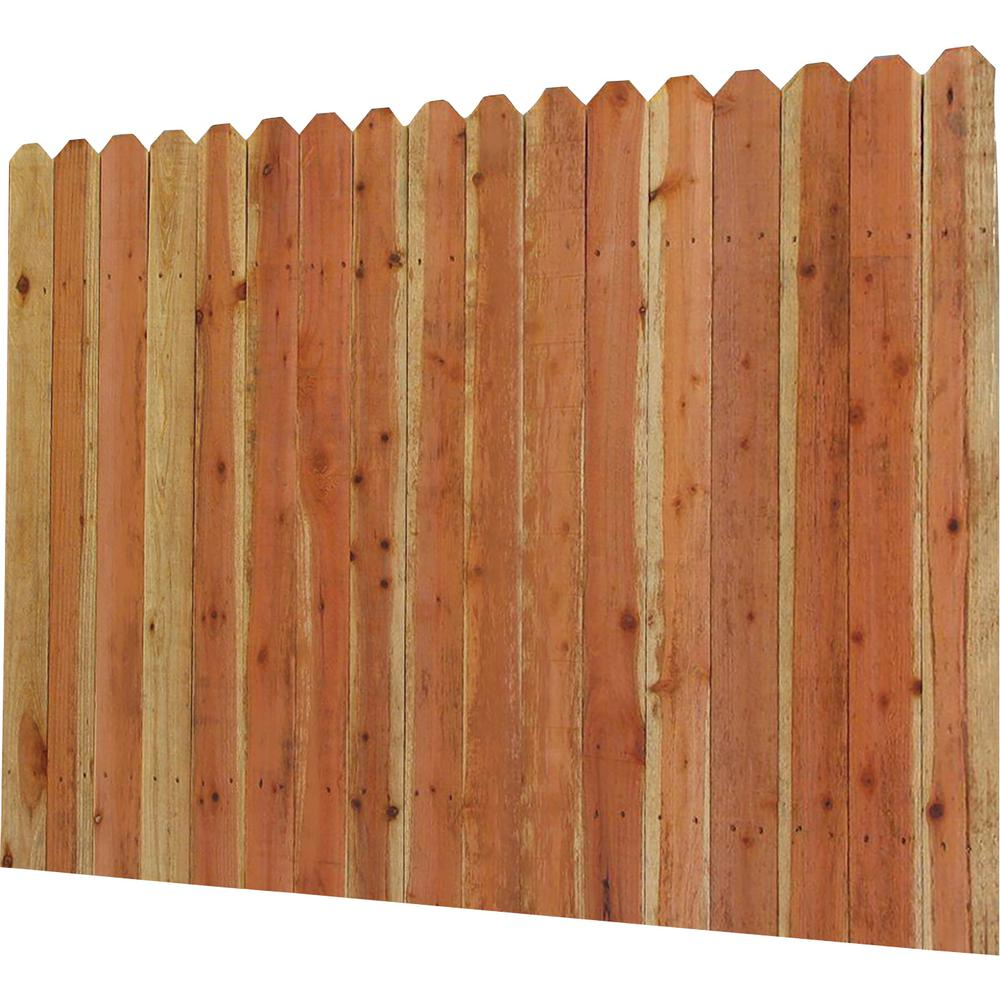 6 Ft H X 8 W Construction Common Redwood Dog Ear Fence Panel 01728 The Home Depot