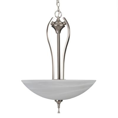 Glacier Point Collection 3-Light Satin Nickel Pendant with Ivory Cloud Glass Shade