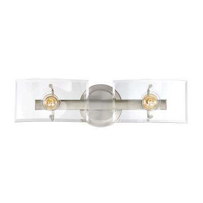 2-Light Satin Nickel Bath Light with Clear Curved Beveled Glass