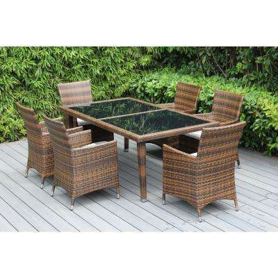 Ohana Mixed Brown 7-Piece Wicker Patio Outdoor Dining Set with Sunbrella Natural Cushions