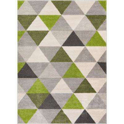 Mystic Alvin Modern Geometric Green 8 ft. x 10 ft. Mid-Century Triangles Area Rug