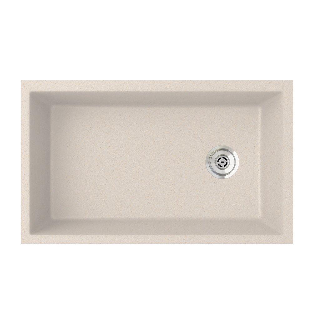Undermount Granite 32 in. 0-Hole Single Bowl Kitchen Sink in Granito