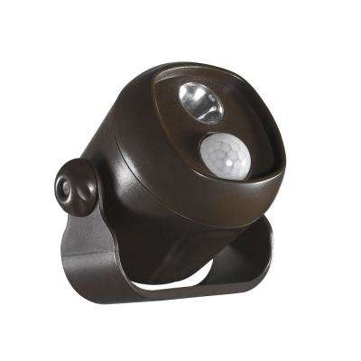 Battery Operated Bronze LED Single Mini Spotlight