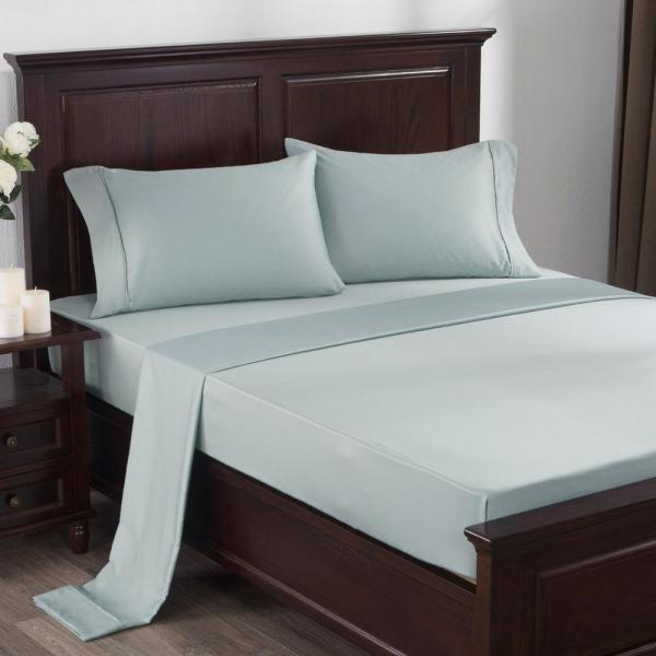 300 Thread Count 100 Cotton Satin Weave 4 Piece Bed Sheet Set King In Light Blue