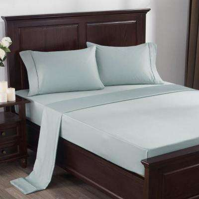 300 Thread Count 100% Cotton Satin Weave 4-Piece Bed Sheet Set Queen in Light Blue