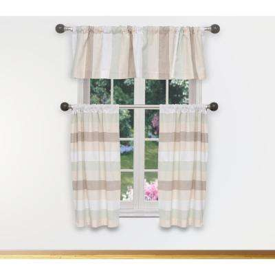 Helga Kitchen Valance in Light Teal-Silver - 15 in. W x 58 in. L (3-Piece)