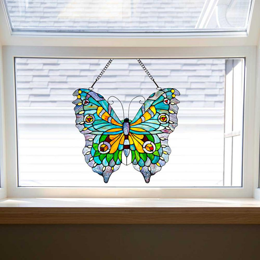 River of goods multi stained glass swallowtail butterfly for Butterfly stained glass craft