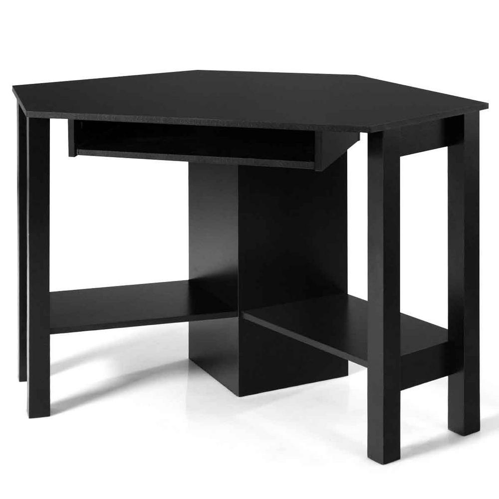 MDF 24 in. Corner Black P2 Grade Particle Board 1-Drawer Computer Desk with Shelf
