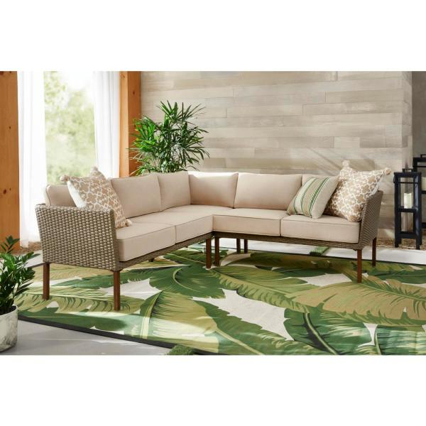 StyleWell Oakshire 3-Piece Steel Outdoor Patio Sectional Sofa with Tan Cushions