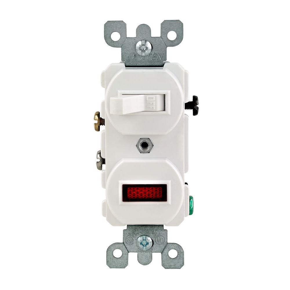Leviton 1/25W-125V Combination Switch with Neon Pilot Light, White