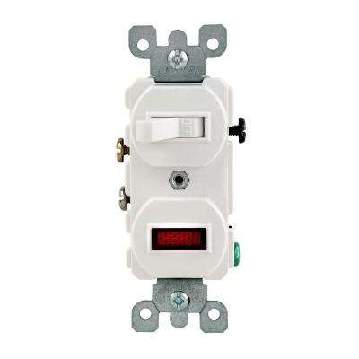1/25W-125V Combination Switch with Neon Pilot Light, White