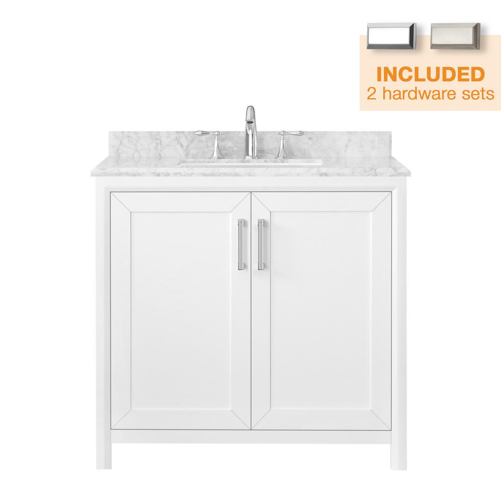 Home Decorators Collection Rockleigh 36 In W X 22 In D Bath Vanity In White With Marble Vanity Top In Carrara White With White Basin