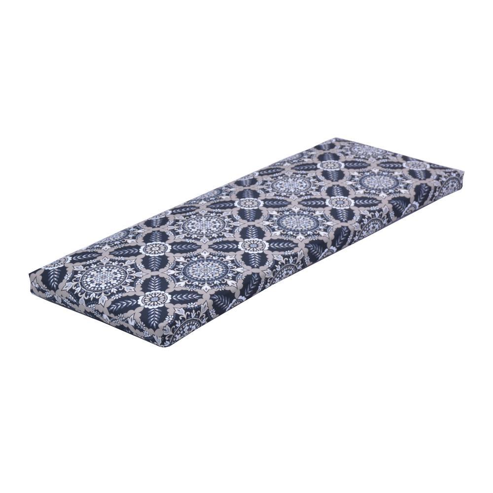 Black Tile Rectangular Outdoor Bench Cushion