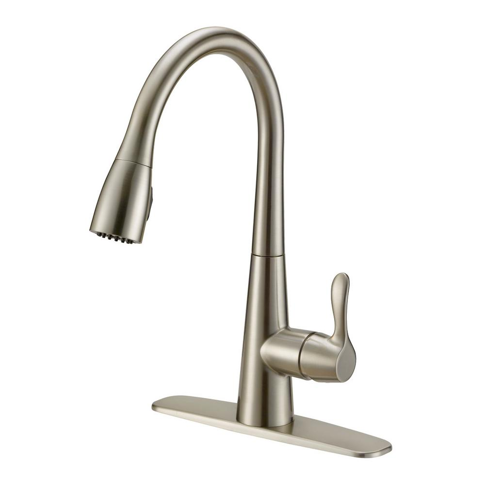 EZ-FLO Tuscany Single-Handle Pull-Down Sprayer Kitchen Faucet with Solid  Lever Handle - Brushed Nickel