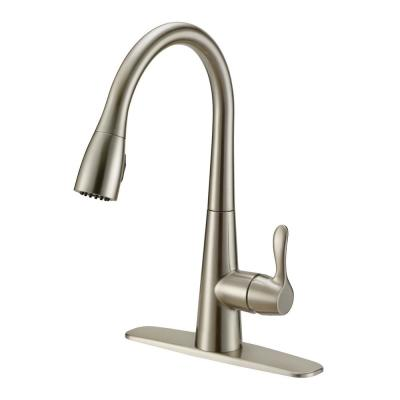 Single-Handle Pull-Down Sprayer Kitchen Faucet with Solid Lever Handle - Brushed Nickel