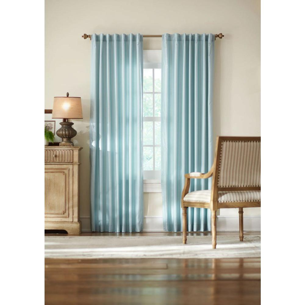 Home Decorators Collection Semi Opaque Blue Slub Faux Silk Back Tab Curtain 1623991 The Home Depot