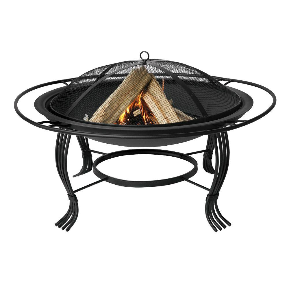 UniFlame 30 in. Diameter Black Wood Burning Fire Pit with Outer Ring and Integrated Wood Grate