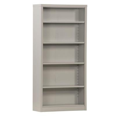 72 in. Dove Gray Metal 5-shelf Standard Bookcase with Adjustable Shelves