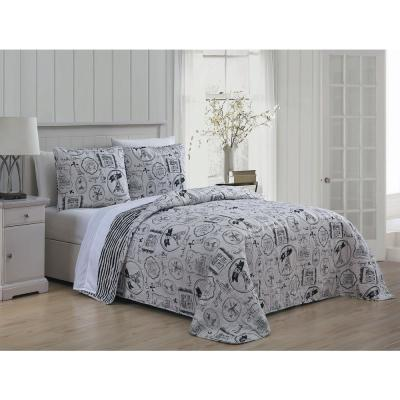 En Vie Paris 3-Piece Black/White Full/Queen Quilt Set