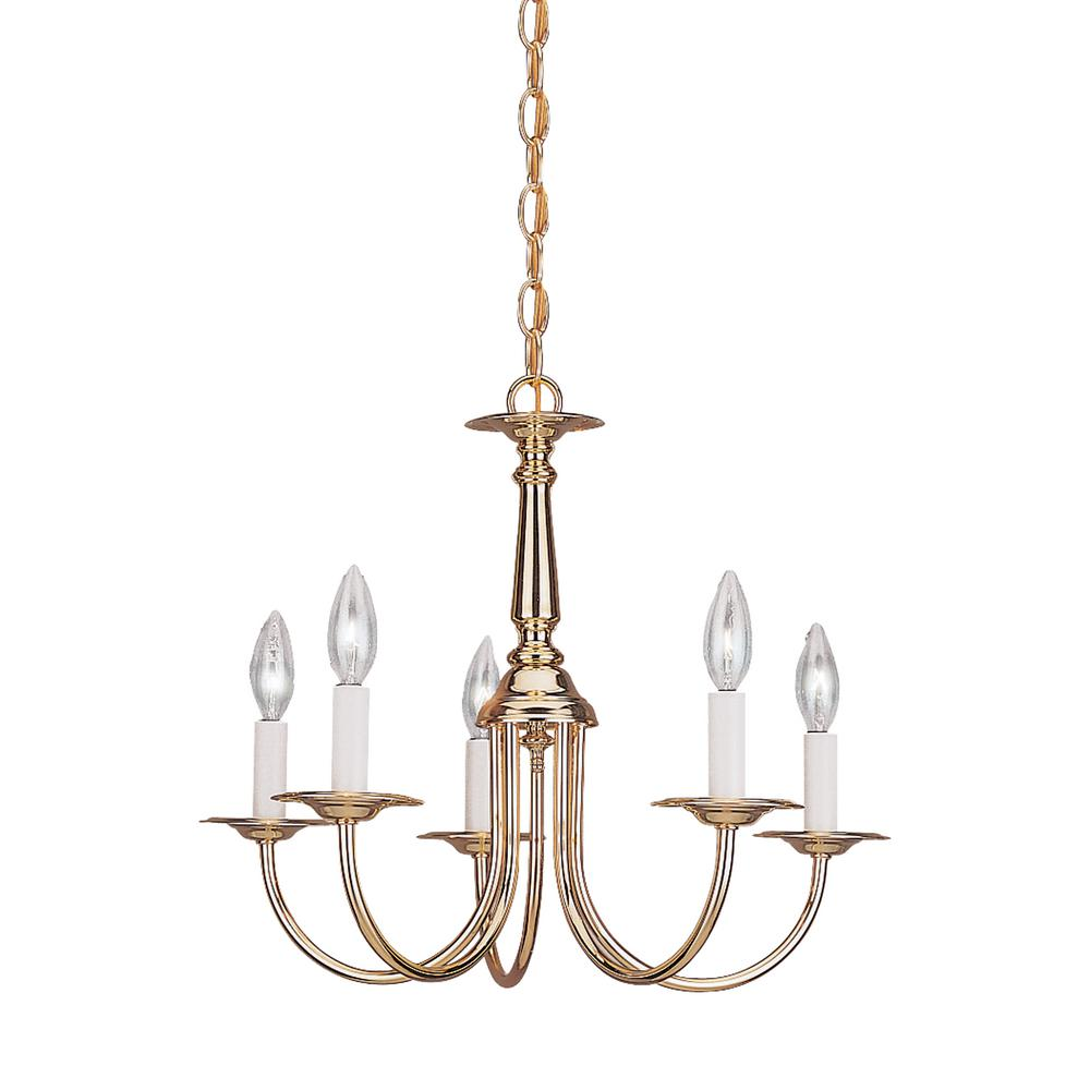 Sea Gull Lighting Traditional 5-Light Polished Brass Chandelier with Dimmable Candelabra LED Bulb