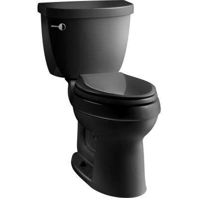 Cimarron 2-Piece 1.28 GPF Single Flush High Efficiency Elongated Toilet with AquaPiston Flushing Technology in Black
