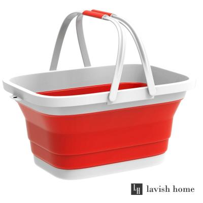 Red Collapsible Multi-use Plastic Basket with Comfort Grip Carrying Handles