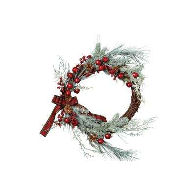 22 in. Frosted Sprig Wreath