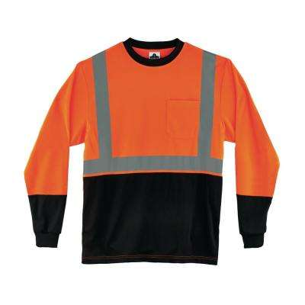 2XL Hi Vis Orange Black Front Long Sleeve T-Shirt