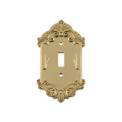 Victorian Switch Plate with Single Toggle in Polished Brass