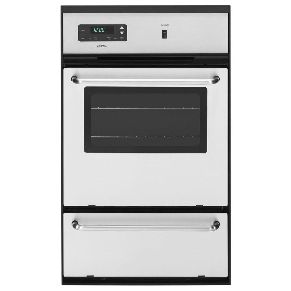 Maytag 24 in. Single Gas Wall Oven in Stainless Steel