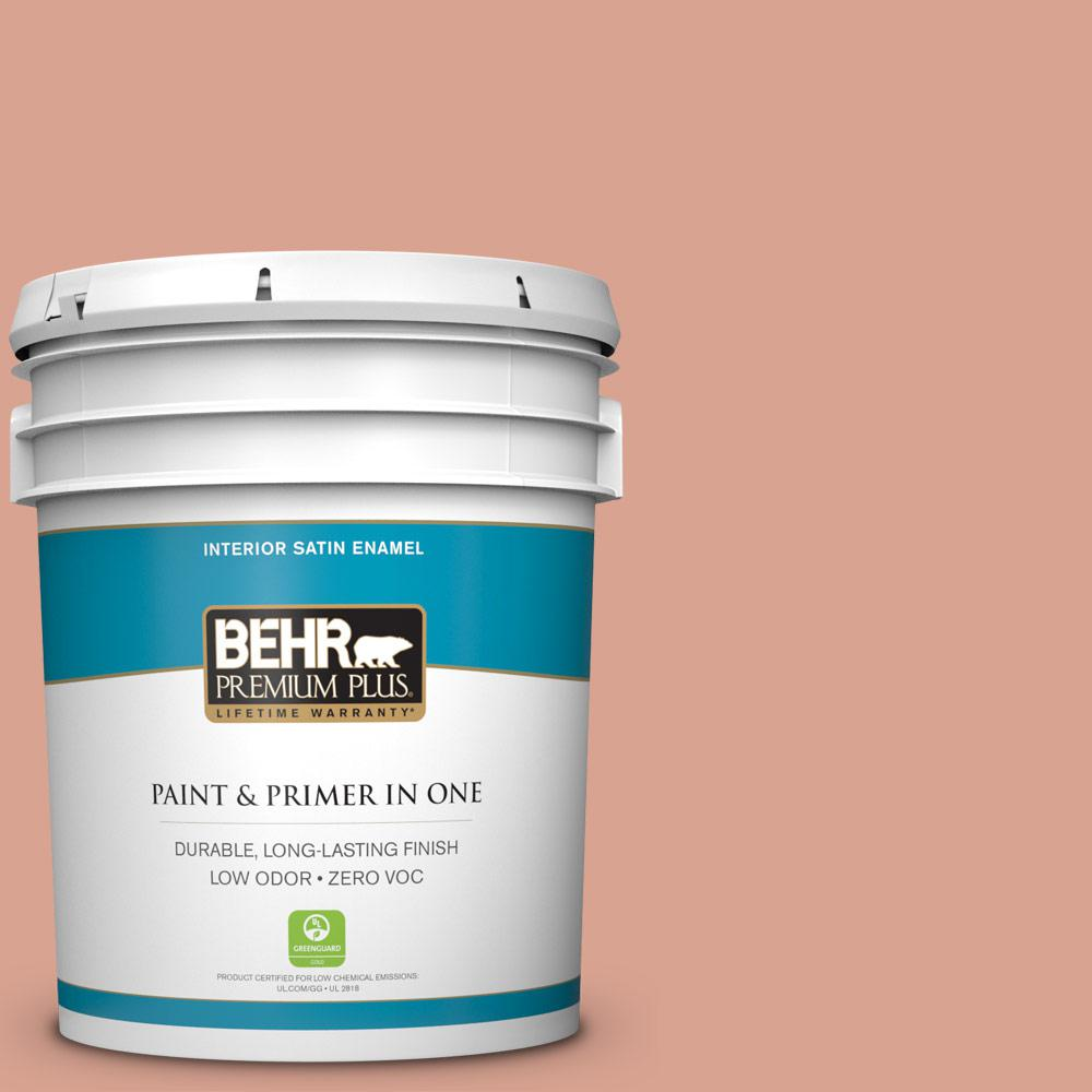 BEHR Premium Plus Home Decorators Collection 5-gal. #HDC-CT-13 Apricotta Zero VOC Satin Enamel Interior Paint
