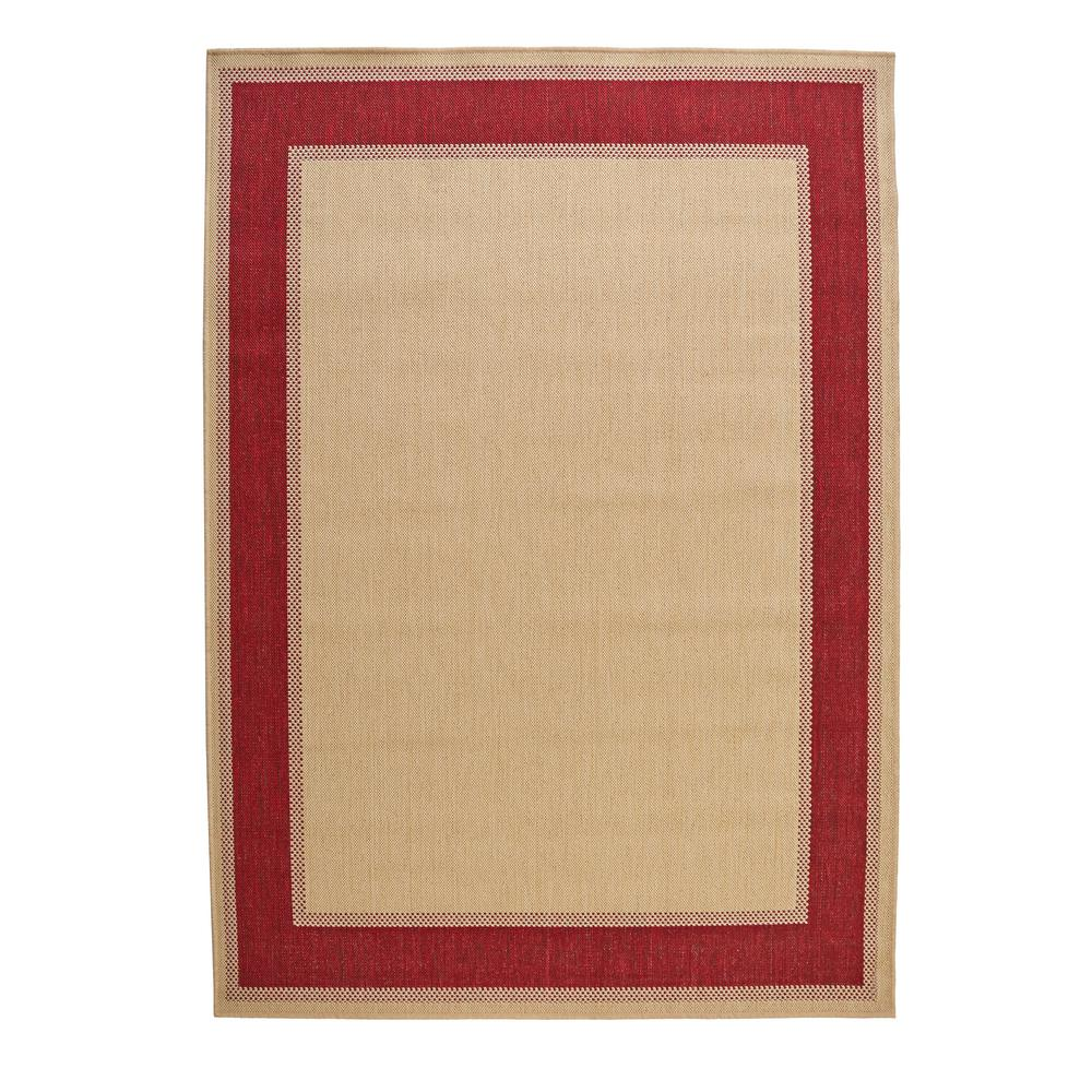 Hampton Bay Border Tan Red 7 Ft X 11 Indoor Outdoor Area