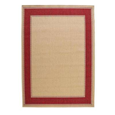 Border Tan Red 7 ft. x 11 ft. Indoor/Outdoor Area Rug
